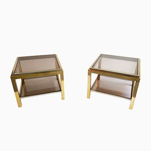 Brass and Smoked Glass Coffee Tables by Jean Charles, Set of 2