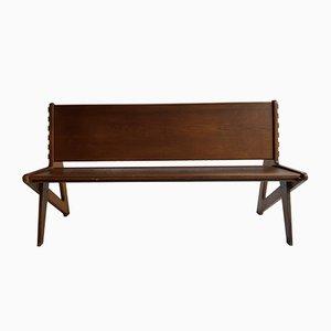 Large Sculptural Wooden Bench