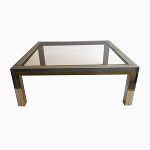 Tavolino da caffè con struttura in cromo e ottone