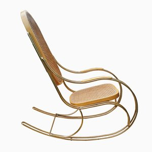 Vintage Gilt Metal & Cane Rocking Chair