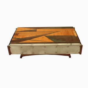 Wood Marquetery Coffee Table, 1970s