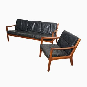 Black Leather & Teak 3-Seater Sofa & Armchair by Ole Wanscher for France & Søn