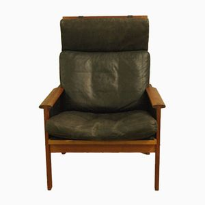 Danish HIghback Teak and Leather Armchair by Illum Wikkelsø for N. Eilersen