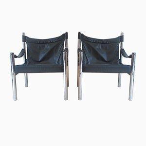Dänische Safari Stühle aus Chrom und Leder, 1970er, 2er Set