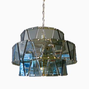Italian Glass and Chrome Chandelier, 1960s