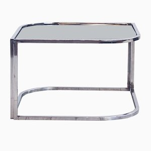 Chromed Metal and Smoked Glass Coffee Table