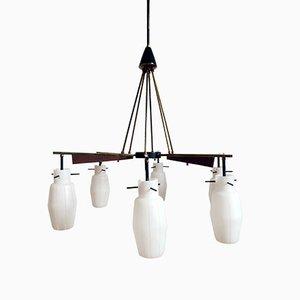 Lámpara de techo italiana vintage con pantallas de vidrio opalino
