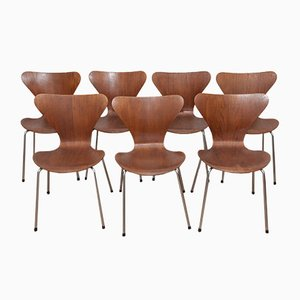 Model 3107 Teak & Plywood Ant Chairs by Arne Jacobsen for Fritz Hansen, 1960s, Set of 7