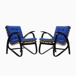 Vintage Blue & Grey Armchairs by Jan Vanek, 1935, Set of 2