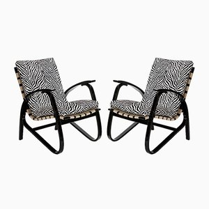 Vintage Zebra Print Armchairs by Jan Vanek, 1935, Set of 2