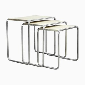 Tavolini a incastro in acciaio tubulare, anni '30