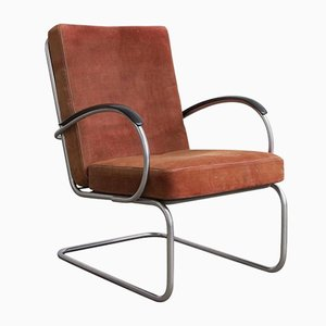 Model 409 Terra Cotta Easy Chair by W.H. Gispen for Gispen Culemborg, 1960s