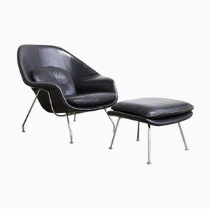 Black Leather Womb Chair & Ottoman by Eero Saarinen for Knoll, 1960s