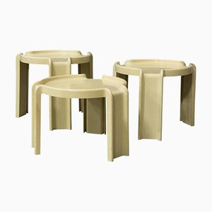 Off-White Plastic Nesting Tables by Giotto Stoppino for Kartell, 1970s