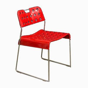 Red Omstak Stacking Chair by Rodney Kinsman for Bieffeplast, 1970s