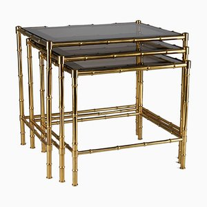 Brass Faux Bamboo Nesting Tables, 1950s