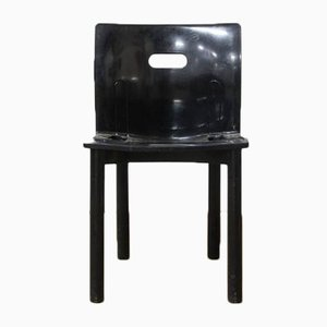Silla apilable 4870 en negro de plástico de Anna Castelli Ferrieri para Kartell, años 90