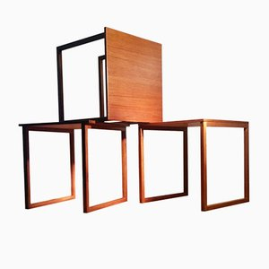 Tables Gigognes Cube en Teck par Kai Kristiansen pour Vildbjerg Møbelfabrik