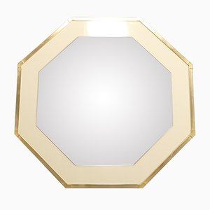 Espejo de laca blanca y latón de Jean-Claude Mahey para Romeo, años 70