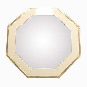 Spiegel mit Rahmen aus Weißem Lack & Messing von Jean-Claude Mahey für Romeo, 1970er