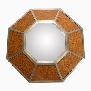 Sechseckiger Spiegel mit Metall & Ulmenholz Rahmen von Willy Rizzo, 1970er