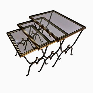 Iron & Bronze Nesting Tables, 1950s