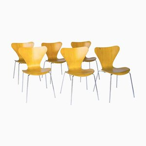 Vintage Laminated 3107 Butterfly Chairs by Arne Jacobsen for Fritz Hansen, Set of 6