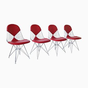 Sedie Bikini DKR in pelle rossa di Charles e Ray Eames per Vitra, set di 4