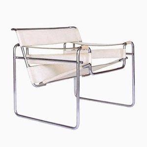 Wassily Chair Vintage Blanche en Cuir par Marcel Breuer pour Knoll