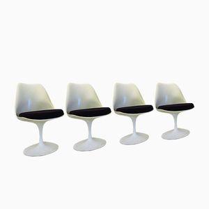 Vintage Tulip Stühle mit Schwarzen Bezügen von Eero Saarinen für Knoll International, 4er Set