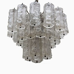 Lámpara de araña italiana Mid-Century de cristal hielo de Paolo Venini, años 60