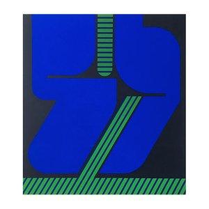Serigrafia vintage blu e verde di Georg Bernhard, anni '70