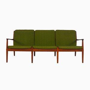 Dänisches Sofa mit Drei Sitzen aus Teakholz von Grete Jalk für Glostrup Møbelfabrik