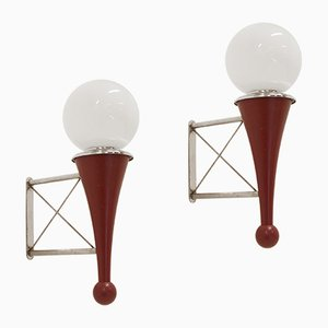 Lámparas de pared Mid-Century de madera, cromo y vidrio. Juego de 2