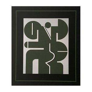 Serigrafía vintage en verde oscuro de Georg Bernhard, años 70