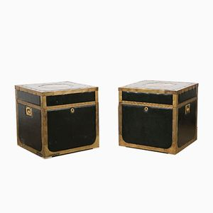 Vintage Leather and Brass Trunk Tables, 1960s, Set of 2