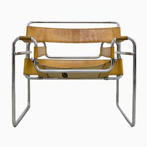 Cognac Leather Wassily Chair by Marcel Breuer for Gavina