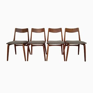 Mid-Century Teak Boomerang Dining Chairs by Erik Christensen for Slagelse Møbelværk, Set of 4