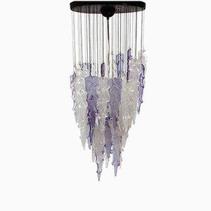 Lámpara de araña italiana Mid-Century en forma de estalactita morada y blanca de Mazzega, años 60