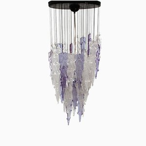 Mid-Century Italian Purple and White Icicle Chandelier from Mazzega, 1960s