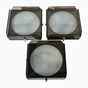 Lámparas de pared de vidrio de Veca, años 60. Juego de 3