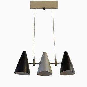 Lámpara colgante italiana con tres luces, añso 50