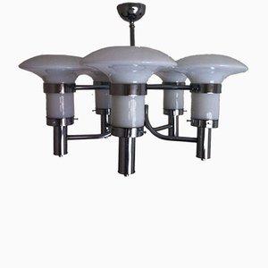 Lámpara colgante era espacial vintage de vidrio, años 60