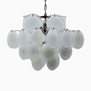 Mid-Century Italian White Murano Glass Chandelier by Vistosi, 1960s