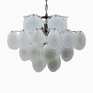 Mid-Century Italian White Murano Glass Chandelier by Vistosi, 1960s