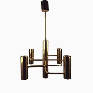 Lámpara de araña vintage de acero y latón de Gaetano Sciolari para Boulanger, años 70