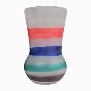 Gestreifte Vase von Fulvio Bianconi für Cenedese, 1950er