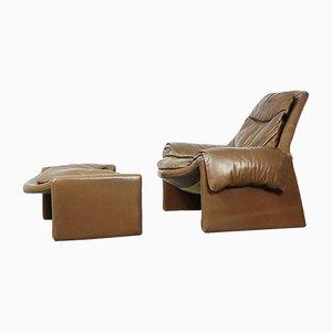 Chaise lounge Proposals di pelle con ottomana di Vittorio Introini per Saporiti, Italia, anni '60
