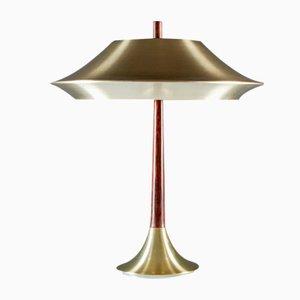 Lámpara de mesa danesa de palisandro y metal, años 60
