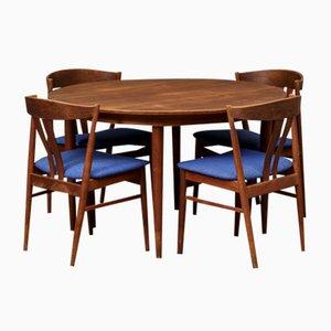 Juego de mesa de comedor danesa Mid-Century de teca con cuatro sillas, años 60